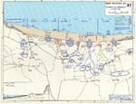 Map of the Omaha beachhead, Normandy, France, showing movements of the US Army V Corps, 6 Jun 1944