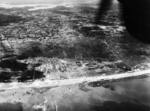 Aerial view of Utah Beach, Normandy, France, morning of 6 Jun 1944; note flooded Merderet River valley at top of photo