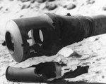 Damaged muzzle brake of a German 88mm gun, located in one of Utah Beach