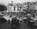 View of the market at the Place du Chateau, Cherbourg, 7 Jul 1944