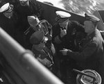 Eisenhower, Arnold, King, and Marshall aboard a landing craft off Normandy, 12 Jun 1944