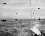 Allied fleet crossing the English Channel, 6 Jun 1944; note the observation balloon above each ship