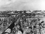 Men of the US 10th Army landing on Okinawa, Japan, 1 Apr 1945