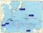 Map depicting Allied attacks on Honshu, Iwo Jima, Okinawa, and Taiwan, Feb-Apr 1945