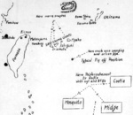 Hand-drawn map of Taiwan-Okinawa region by British Pacific Fleet personnel, circa Apr 1945