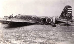 Wreckage of a Japanese Army Ki-21 aircraft, modified for special attack duty, Okinawa, Japan, May 1945