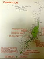 Map showing Japanese positions at the Palau Islands, published in US Pacific Fleet and Pacific Ocean Areas Information Bulletin No. 124-44 of 15 Aug 1944