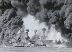 Burning battleships Arizona, West Virginia, and Tennessee at Pearl Harbor, US Territory of Hawaii, 7 Dec 1941