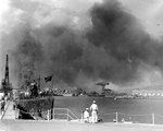 View of Pearl Harbor Navy Yard from the submarine base, Oahu, US Territory of Hawaii, 7 Dec 1941, photo 1 of 2; USS Narwhal at left and various ships in background