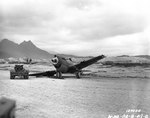 P-40 Warhawk aircraft damaged in a taxiing accident with another P-40 at Bellows Field, Oahu, US Territory of Hawaii, 8 Dec 1941, photo 3 of 3