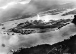 Aerial view of Ford Island in Pearl Harbor during the Japanese attack, 7 Dec 1941; photo taken from a Japanese aircraft