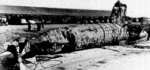 Japanese Type A-class midget submarine I-22tou which was sunk by destroyer Monaghan inside Pearl Harbor, Hawaii, United States during the Japanese attack, Dec 1941