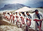 US Navy sailors honoring fellow sailors killed during the Pearl Harbor attack, Naval Air Station Kaneohe, Oahu, US Territory of Hawaii, possibly 31 May 1942