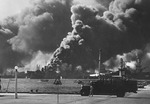 USS Shaw burning in Pearl Harbor, Oahu, US Territory of Hawaii, 7 Dec 1941