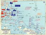 Map depicting the American invasion of Leyte and the Leyte Gulf battles in the Philippine Islands, 17-25 Oct 1944