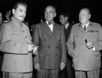 Joseph Stalin, Harry Truman, and Winston Churchill during the Potsdam Conference, Germany, 17 Jul 1945, photo 1 of 2