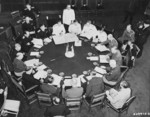 General Alexei Antenoff, General George Marshall, General Henry Arnold, Admiral Ernest King, and other Allied officers meeting during the Potsdam Conference, Germany, 27 Jul 1945, photo 2 of 2