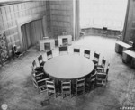 Conference table, Schloss Cecilienhof, Potsdam, Germany, 13 Jul 1945, photo 1 of 2