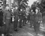 British Prime Minister Clement Attlee, accompanied by Brigadier O. M. Wales, inspecting the honor guard of British Scots Guards regiment during the Potsdam Conference, Germany, 28 Jul 1945