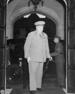 British Prime Minister Winston Churchill arriving at the Cecilienhof Palace in Potsdam, Germany, 17 Jul 1945