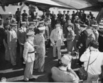 Field Marshal Bernard Montgomery welcoming British Prime Minister Winston Churchill at Berlin-Gatow airfield, Germany, 15 Jul 1945