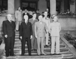 Vyacheslav Molotov, James Byrnes, Charles Bohlen, Harry Truman, William Leahy, and Joseph Stalin in Potsdam, Germany, 17 Jul 1945, photo 1 of 5