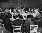 Meeting of Allied foreign ministers, Schloss Cecilienhof, Potsdam, Germany, 24 Jul 1945, photo 2 of 3; note James Byrnes of US, Anthony Eden of UK, and Vyacheslav Molotov of USSR