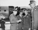 US General Brehon Somervall arriving at Berlin-Gatow airfield, Germany, 15 Jul 1945, photo 2 of 3; note Brigadier General Earl Hoag present to greet Somervall