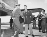 US General Brehon Somervall arriving at Berlin-Gatow airfield, Germany, 15 Jul 1945, photo 1 of 3; note Brigadier General Earl Hoag present to greet Somervall
