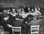 Meeting of Allied foreign ministers, Schloss Cecilienhof, Potsdam, Germany, 24 Jul 1945, photo 3 of 3; note James Byrnes of US, Anthony Eden of UK, and Vyacheslav Molotov of USSR