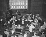 Harry Truman, James Byrnes, William Leahy, Joseph Stalin, Vyacheslav Molotov, Anthony Eden, Winston Churchill, and others in conference at Schloss Cecilienhof, Potsdam, Germany, 17 Jul 1945