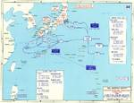 Map depicting the proposed invasion routes of Operation Downfall; Japanese defensive positions were as of Aug 1945