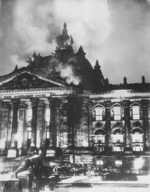 The Reichstag building on fire, Berlin, Germany, 27 Feb 1933