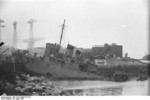 HMS Cambeltown wedged in the dock gates of Saint-Nazaire, France, 28 Mar 1942, photo 01 of 10