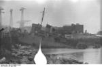 HMS Cambeltown wedged in the dock gates of Saint-Nazaire, France, 28 Mar 1942, photo 03 of 10