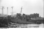 HMS Cambeltown wedged in the dock gates of Saint-Nazaire, France, 28 Mar 1942, photo 04 of 10
