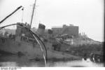 HMS Cambeltown wedged in the dock gates of Saint-Nazaire, France, 28 Mar 1942, photo 05 of 10
