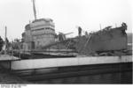 HMS Cambeltown wedged in the dock gates of Saint-Nazaire, France, 28 Mar 1942, photo 08 of 10