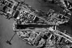 Aerial view of Normandie Dock, Saint Nazaire, France, mid-1942; note wreck of HMS Campbeltown still in dock