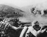 Chinese troops fighting during the Salween Offensive, Burma, circa late 1944 or early 1945