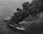 US tanker Pennsylvania Sun burning after being torpedoed by German submarine U-571 in the Gulf of Mexico, 15 Jul 1942