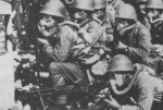 Japanese troops in gas masks in Shanghai, China, Sep-Nov 1937, photo 1 of 2