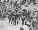Troops of the Chinese 88th Division marching toward Shanghai, China, circa early Aug 1937; note German M1935 helmets