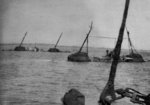 Sunken ships in the Yangtze River near Jiangyin, Jiangsu Province, China, Aug-Sep 1937; they were sunken to prevent Japanese from sailing up river