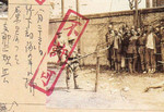 Japanese soldier guarding a group of Chinese prisoners of war, Shanghai, China, 30 Aug 1937; note Japanese censor