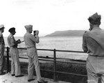 Montgomery and Eisenhower inspecting enemy installations across the Strait of Messina from Sicily, 30 Aug 1943