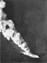 Japanese ship burning after being attacked by the US 5th Air Force, Battle of Bismarck Sea, 4 Mar 1943