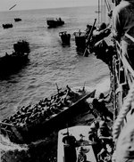 US troops boarding landing barges at Empress Augusta Bay, Bougainville, Nov 1943