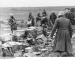 Spanish Nationalist troops at a supply dump, the Battle of Guadalajara, Spain, Mar 1937