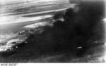 Buildings in the Russian city of Stalingrad burning after German aerial bombing, Oct 1942